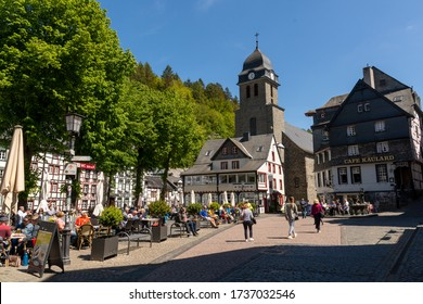 Monschau, Germany - May 17, 2020: Lively market place in the town center