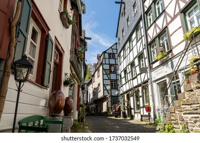 Monschau, Germany - May 17, 2020: Narrow street in the town center