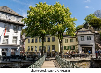 Monschau, Germany - May 17, 2020: Bridge over river Rur and Rur street in the background