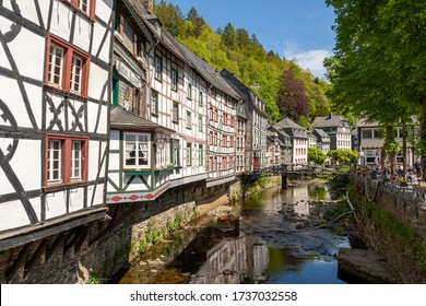 Monschau, Germany - May 17, 2020: Half-timbered houses at the river Rur