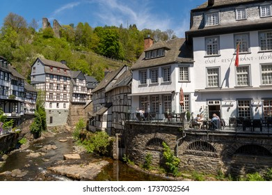 Monschau, Germany - May 17, 2020: River Rur and castle ruin