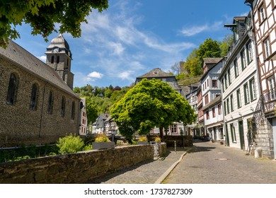 Monschau, Germany - May 17, 2020: River Rur and Aukloster