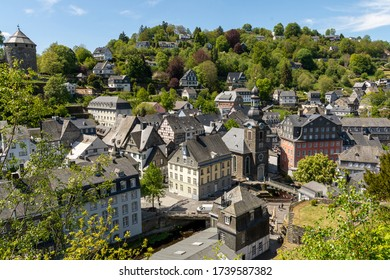 Monschau, Germany - May 17, 2020: View of the historical town center