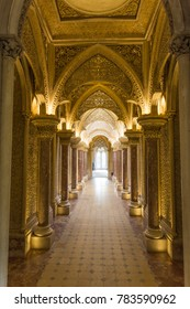 MONSERRATE, PORTUGAL – October 3, 2017: The central gallery of the Monserrate Palace, an exotic palatial villa located near Sintra, Portugal