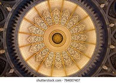 MONSERRATE, PORTUGAL – October 3, 2017: Ceiling of the Music Room of the Monserrate Palace, an exotic palatial villa located near Sintra, Portugal