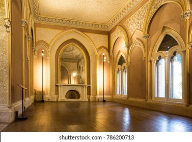 MONSERRATE, PORTUGAL – October 3, 2017: The indian room with its large mirror in the Monserrate Palace, an exotic palatial villa located near Sintra, Portugal