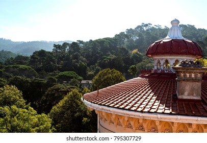 MONSERRATE, PORTUGAL – October 3, 2017: View of the round and gently sloping roofs and decoration of the finilas of the Monserrate Palace in Sintra, Portugal