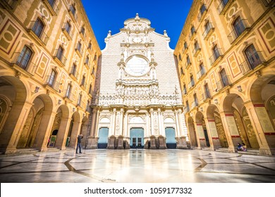 MONSERRAT,SPAIN-5 MAY 2017:Santa Maria de Montserrat is a Benedictine abbey located on the mountain of Montserrat, in Monistrol de Montserrat, in Catalonia, Spain.