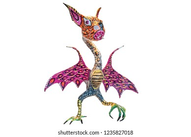Monster called Alebrije in Mexico with clipping path Colorful bat or bird figure made as a craft