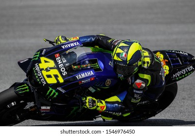 Monster Energy Yamaha's Italian rider Valentino Rossi during the first MotoGP free practice at the Sepang International Circuit on November 1, 2019, ahead of the Malaysian motorcycle Grand Prix