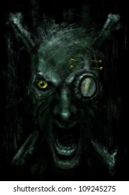 Monster face. Fantasy monster's head over a dark background. Digital loosely painting.