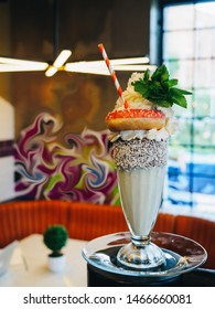 Monster freak shake with donut, mint and whipped cream.