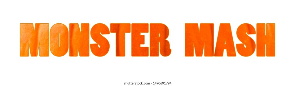 Monster mash Halloween lettering logo for decoration poster, banner, site. Letters filled with pumpkin background.