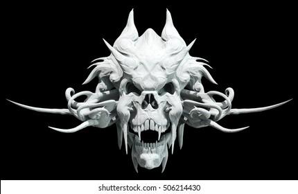 Monster skull design on a black background for Halloween. 3D illustration