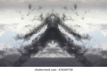 The monster, Symmetrical photographs, allegory of bad omen, bad feeling, suspicion,fear, photography storm clouds, visual allegories, visual metaphors, photographic allegories, photographic metaphors,