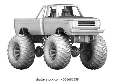 Monster Truck. 3d image isolated on white