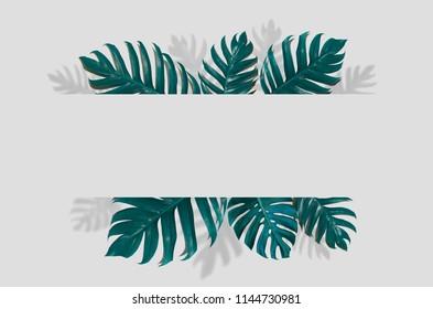 Monstera Concept art Minimal background design Leaves monster blue Tropical and leaves in vibrant bold gradient trendy Summer Tropical Leaves Design