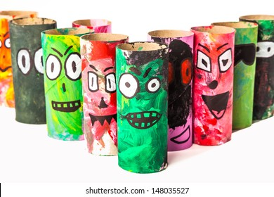 monsters made with toilet paper roll / Handicraft Monsters