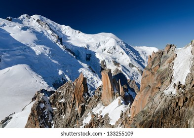 Mont Blanc with 4807 m altitude, is the highest mountain from Europe. View from Aiguille du Midi, Chamonix in France