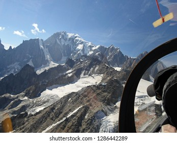 Mont Blanc. Aerial View from glider. Italian Alps