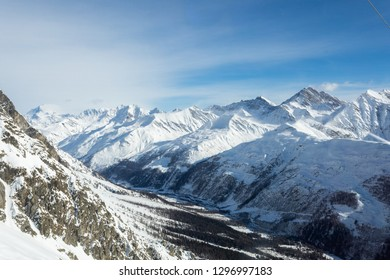 Mont Blanc Cable Car -  Courmayeur, Aosta Valley, Italy. The Alps eighth wonder of the world at Helbronner Peak, the Europe highest panoramic roof top terrace.