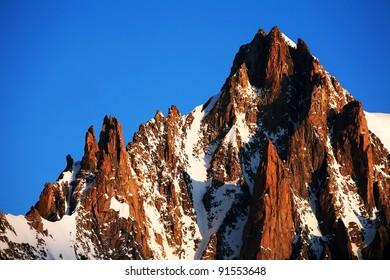Mont Blanc du Tacul (4248m) in sunrise light, Haute Savoie, France