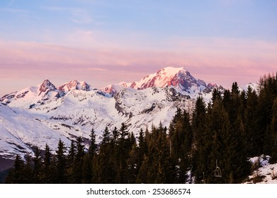 Mont Blanc at Dusk with pines on the foreground in the Alps, Savoie, France