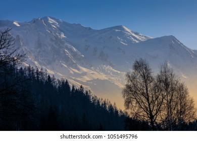 Mont Blanc in evening misty winter light
