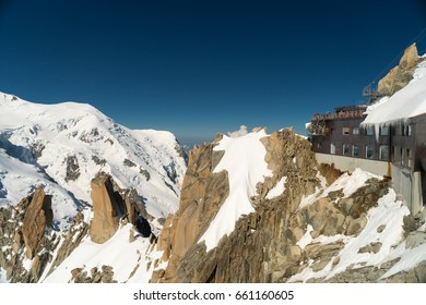 Mont Blanc is the highest mountain in the Alps and the highest in Europe. Beautiful panorama of European Alps in sunny day. Haute-Savoie, France