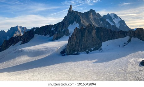 The Mont Blanc Italian side, in the photo you can see the giant's tooth