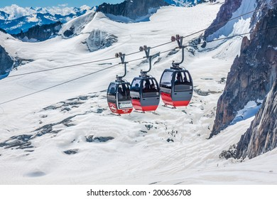 MONT BLANC, ITALY - AUGUST, 19: the highest cable way in Europe, reaching 3.842 meter at Peak Aiguille, electric engine, on the Italian side on August 19, 2013 on Mont Blanc, Italy