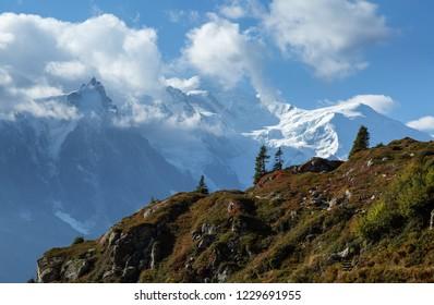 Mont Blanc massif near Chamonix, France, on an autumn day.