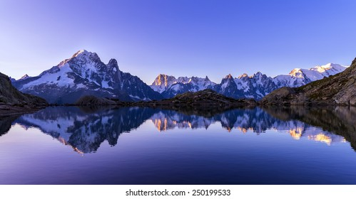 Mont Blanc Massif Reflected in Lac Blanc, Graian Alps, France