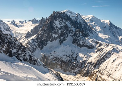Mont Blanc and the Mer de Glace in the French Alps