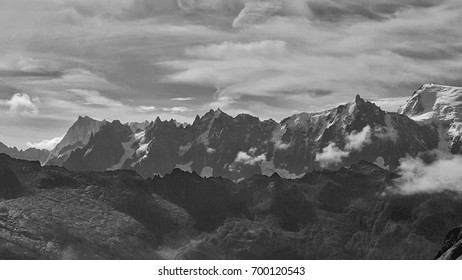 Mont Blanc, mountain ,Black and white photo ,Landscape nature background,Popular tourist Destination, France, Europe