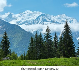 Mont Blanc mountain massif (Chamonix valley, France, view from Plaine Joux outskirts). Beautiful natural vacation hiking walking travel to nature alps destinations concept.