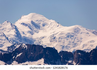 Mont Blanc mountain seen from Le Grammont mountain in Switzerland.