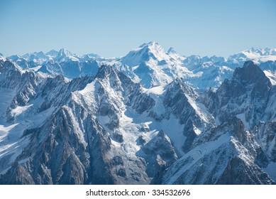Mont Blanc mountain, White mountain (view from Aiguille du Midi Mount, France)