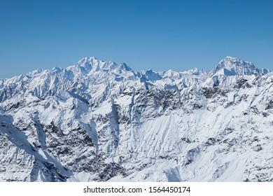 Mont Blanc (on the left side) viewed from Klein Matterhorn