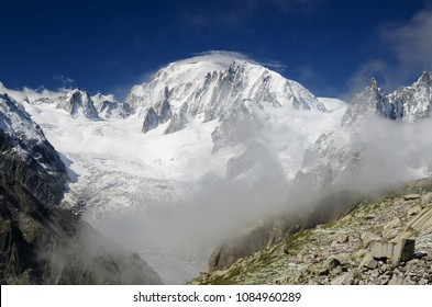 Mont Blanc peak and Alpine landscape, French Alps, Chamonix, France