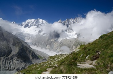 Mont Blanc peak and Mer-de-Glace glacier, French Alps, Chamonix, France