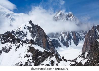 Mont Blanc snow peak, Brenva glacier, Mont Blanc du Tacul from Punta Helbronner station in Italian side