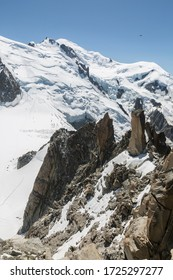 Mont Blanc three mounts route (par les 3 monts) over Mont-blanc du Tacul, Mont Maudit and the main Alps mount Mont-Blanc. View from Aiguille du Midi Chamonix France