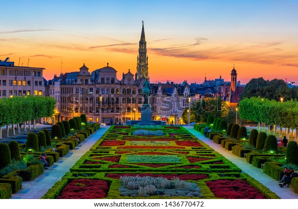 The Mont des Arts or Kunstberg is an urban complex and historic site in the centre of Brussels, Belgium. Night cityscape of Brussels. Architecture and landmark of Brussels.
