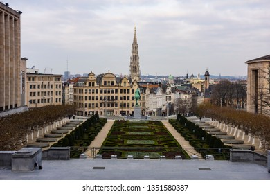 Mont des Arts Park and Town Hall tower, in the background in Brussels, Belgium, Europe