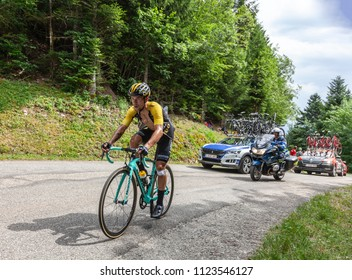 Mont du Chat, France - July 9, 2017: The Slovenian cyclists Primoz Roglic of LottoNL-Jumbo Team climbing the road on Mont du Chat during the stage 9 of Tour de France 2017.
