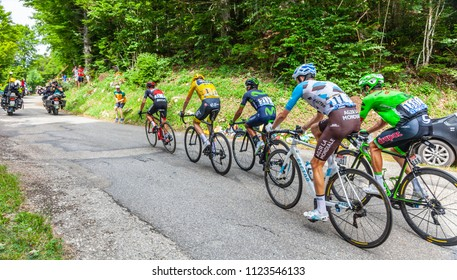 Mont du Chat, France - July 9, 2017: The group of the leaders, Froome,Porte,Quintana,Bardet and Uran, climbs the road on Mont du Chat during the stage 9 of Tour de France 2017.