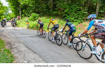 Mont du Chat, France - July 9, 2017: The group of the leaders, Froome,Porte,Quintana and Bardet, climbs the road on Mont du Chat during the stage 9 of Tour de France 2017.