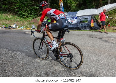 Mont du Chat, France - July 9, 2017: The French cyclists Tony Gallopin of Lotto-Belisol Team climbing the road on Mont du Chat during the stage 9 of Tour de France 2017.