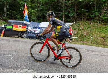 Mont du Chat, France - July 9, 2017: The French cyclists Sylvain Chavanel of Direct Energie Team climbing the road on Mont du Chat during the stage 9 of Tour de France 2017.